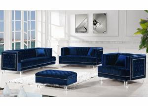 Image for Lucas Blue Velvet 3 Piece Sofa Set Collection