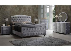 Hudson Grey Upholstered Queen Sleigh Bed w/Dresser and Mirror