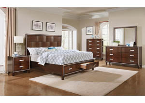 King Bed w/Dresser, Mirror, 2 Nightstands & Chest