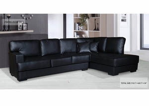 Sectional Black Bonded