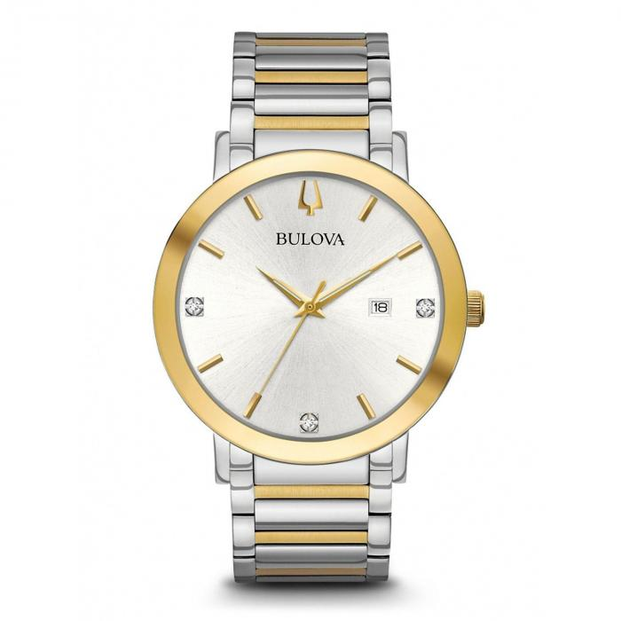 Bulova Men's Modern Diamond Accent Two Tone Stainless Steel Watch,InStore Products