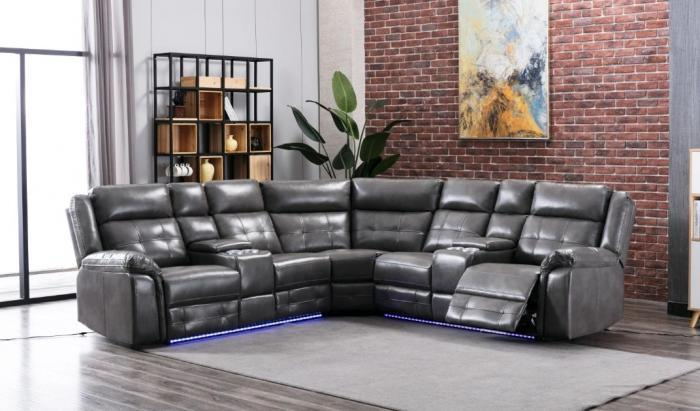 Game Night Gray LED Power Assist Sectional w/ Consoles,InStore Products