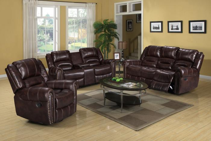 Maverick Brown Motion 3 PC Living Room Set,InStore Products