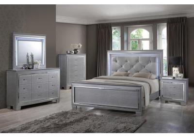 Hollywood Silver with LED Trim King 5 PC set (dresser,mirror,nightstand,chest)