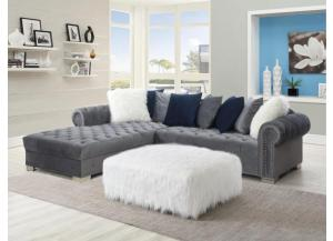 Glamorous Gray Sectional with Ottoman