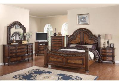 Caesar Cherry King 5 PC set (dresser,mirror,nightstand,chest)