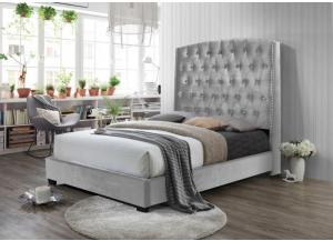 Misty Gray King Upholstered Padded Fabric Bed