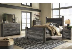 Wynnlow Rustic Gray Planked Queen 5PC set (dresser,mirror, nightstand, chest)