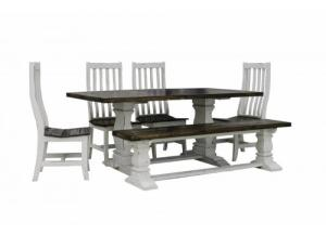 French Quarters Double pedestal antique white 7PC dining set (6 chairs)