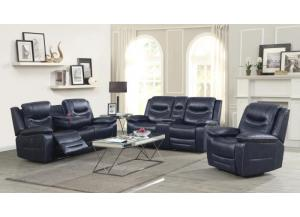 Georgetown Navy Power Motion with adjustable headrest 3 PC Living Room Set