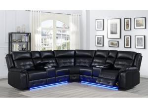 Game Night Black LED Power Assist Sectional w/ Consoles