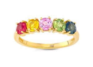 1.7 CT Rainbow Sapphire Ring in 14k Gold