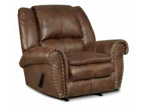 Padre Nailhead Espresso Color Recliner with marble pattern