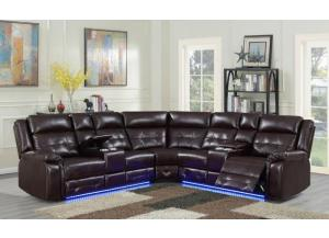 Image for Game Night Brown LED Power Assist Sectional w/ Consoles