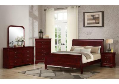 Louis Cherry Queen 5 PC set (dresser,mirror,nightstand,chest)