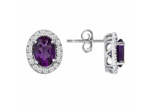 Image for Oval Amethyst and White Topaz Earrings in 14K White Gold