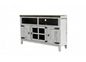 "Image for 50"" White Rustic style solid wood sofa media tv stand"