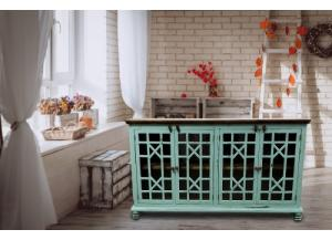 Turquoise Rustic Style Console