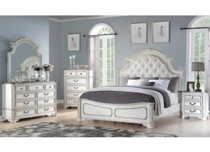 Blanca Antique White King 5 PC set (dreser,mirror,nightstand,chest)