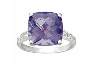 Cushion-Cut Amethyst Ring with Diamonds in 14K White Gold