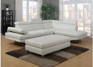 Calais White Sectional with Ottoman