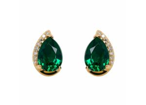 Image for Pear Shape Emerald Earrings with Diamonds in 14K Yellow Gold