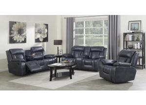 Hudson Blue Motion 3 PC Living Room Set