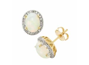 Image for Oval Opal Earrings in 14K Yellow Gold