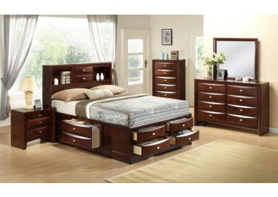 Ridgemont Cherry Platform Queen Storage 5 PC set (dresser,mirror,nightstand,chest)