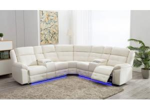 Game Night White LED Power Assist Sectional w/ Consoles