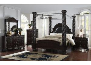 Corinthian Espresso Canopy King 5 PC set (dresser,mirror,nightstand,chest)