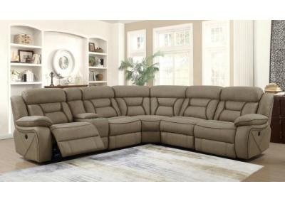 Liberty Tan Dual Power Assist Sectional with Console