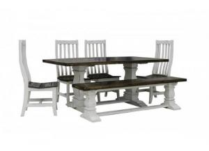 French Quarters Double pedestal antique white 6PC dining set (4 chairs,bench)