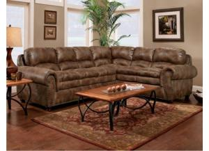Padre Nailhead Espresso Color Sectional with marble pattern