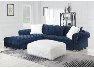 Glamorous Blue Sectional with Ottoman