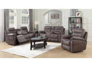 Morgan Gray Power Motion 3 PC Living Room Set