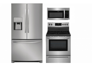 Frigidaire French Door Refrigerator, Smooth Surface 5-Element Steam Cleaning Freestanding Electric Range & Over-the-Range Microwave