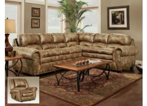Padre Nailhead Almond Color Sectional with marble pattern
