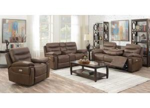 Morgan Brown Power Motion 3 PC Living Room Set
