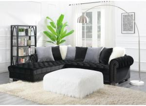 Glamorous Black Sectional with Ottoman