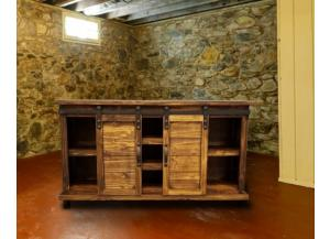 Rustic style console with barn doors