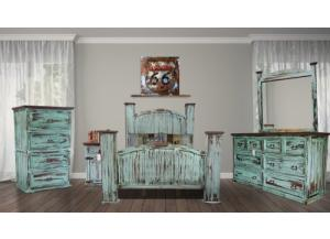 Mansion Rustic Turquoise King 5PC set (dresser,mirror,nightstand,chest)