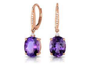 Image for Oval Cut Amethyst Earrings with Diamonds in 14K Rose Gold