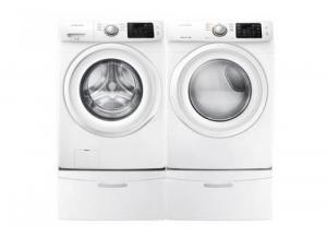 Samsung 4.2-cu ft High Efficiency Front-Load Washer & 7.5-cu ft Electric Dryer (White) pedestals not included*