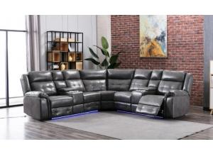 Game Night Gray LED Power Assist Sectional w/ Consoles