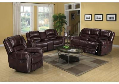 Maverick Brown Motion 3 PC Living Room Set