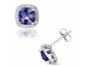 Image for Amethyst and Diamond 14K White Gold Earrings