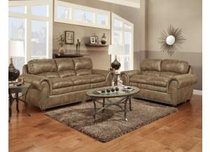 Padre Nailhead Almond Color Sofa and Loveseat