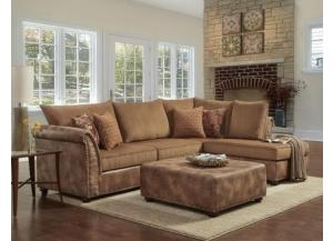Padre Nailhead Almond Color Sectional w/ Ottoman