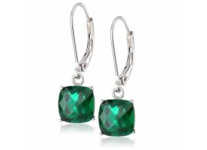 Image for 8 mm Cushion Cut Created Emerald Dangle Leverback Earrings in 14K White or Yellow Gold